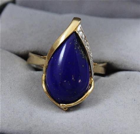 sted 585 14k yellow gold lapis lazuli fashion ring size