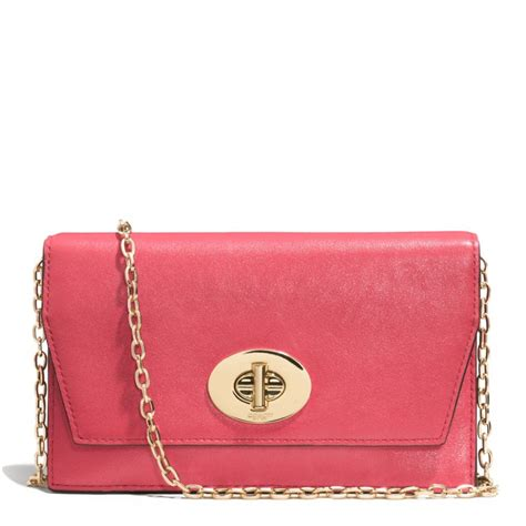 light pink coach wallet coach madison crossbody clutch wallet in leather in pink