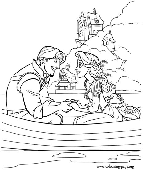tangled flynn rider and rapunzel coloring page