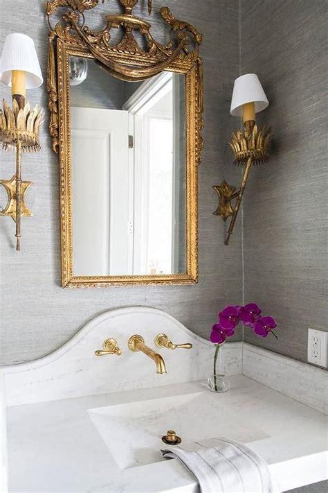 gray  gold powder room design transitional bathroom