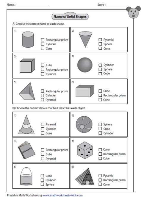 Three Dimensional Shapes Worksheets For Grade by Choice Questions Eureka Math Grade 1