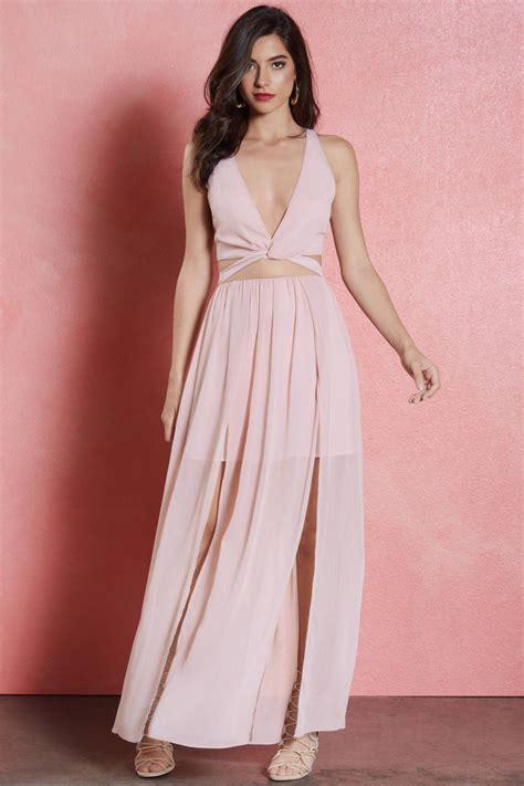 Dress Maxi Set mauve dress cut out dress two midriff dress