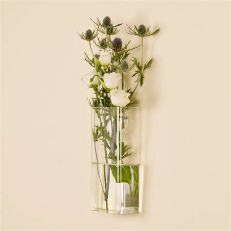 Wall Mounted Flower Vases by Rectangular Wall Mounted Glass Vase By Dibor