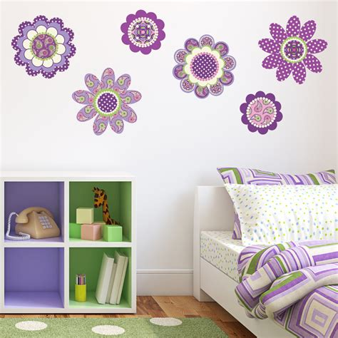 reusable wall stickers purple flower power wall decal stickers removable reusable