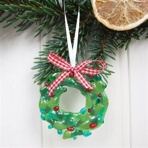 handmade glass wreath christmas tree decoration by jessica