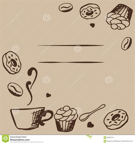 coffee shop background pattern royalty free vector image vector card design with hand drawn coffee and dessert