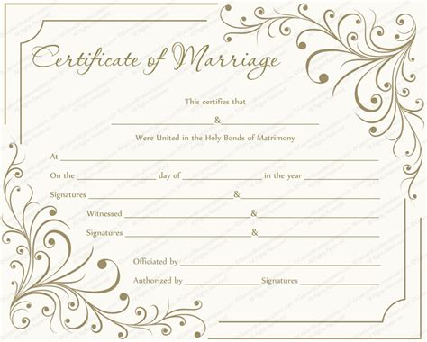 printable marriage certificate template marriage certificate template write your own certificate
