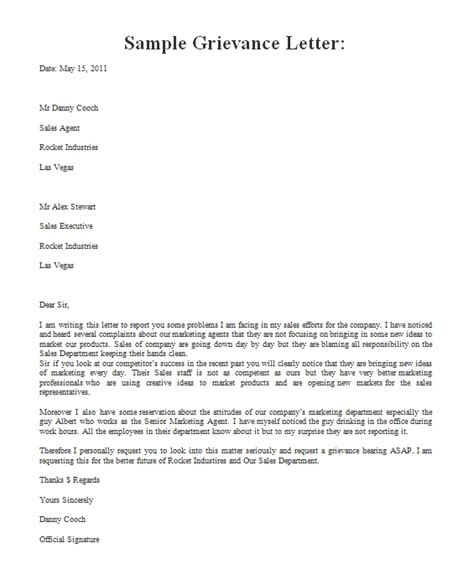 formal grievance letter template formal letter template