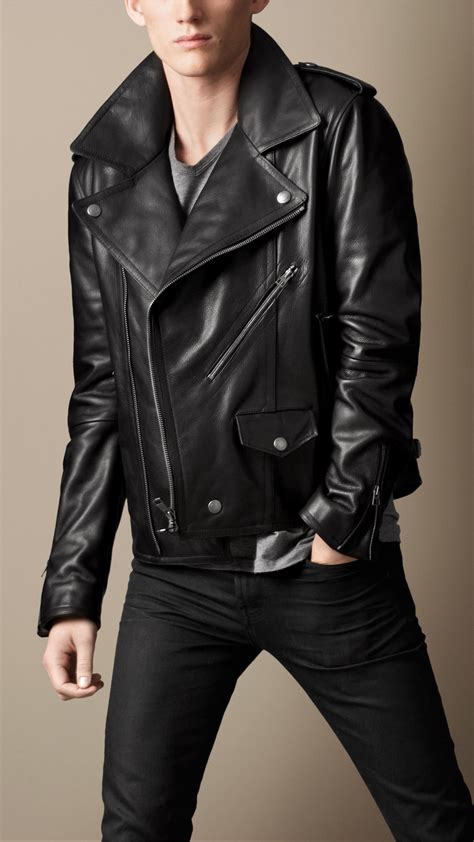 mens leather biker jacket lyst burberry brit leather biker jacket in black for men