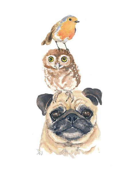 original pug original animal watercolor pug watercolour by waterinmypaint 50 00 2d