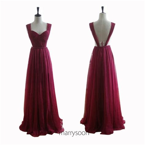 wine colored prom dresses wine colored chiffon open back prom dresses claret
