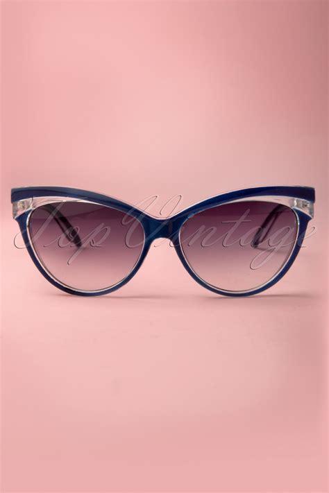 Cat Eye Biru Top judy classic 50s sunglasses in navy
