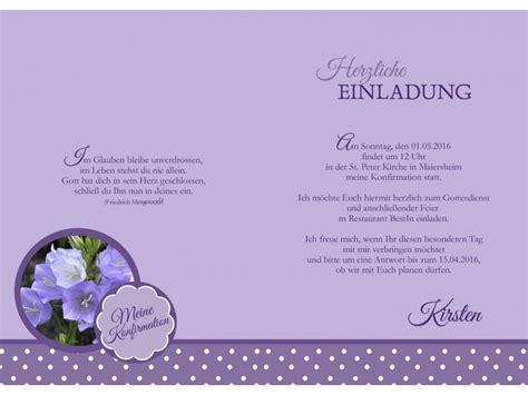 Einladungskarten Hochzeit Flieder by Einladungskarte Kommunion Konfirmation Lila Flieder