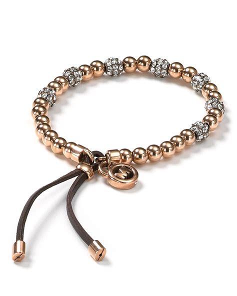 michael kors beaded bracelet michael kors pave beaded bracelet in gold gold lyst