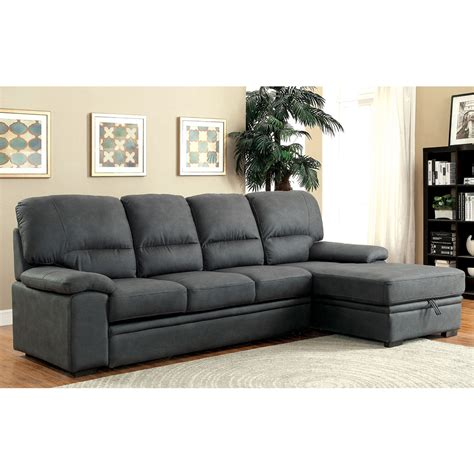Pull Out Sectional Sofa Alcester Sectional Sofa Pull Out Sleeper Bed Chaise Underneath Storage Graphite Ebay