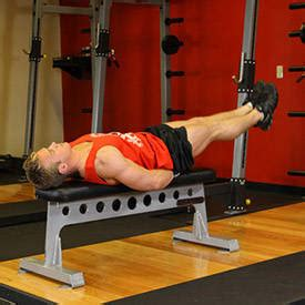 flat bench leg pull in crunch exercise ball pull in exercise guide and video