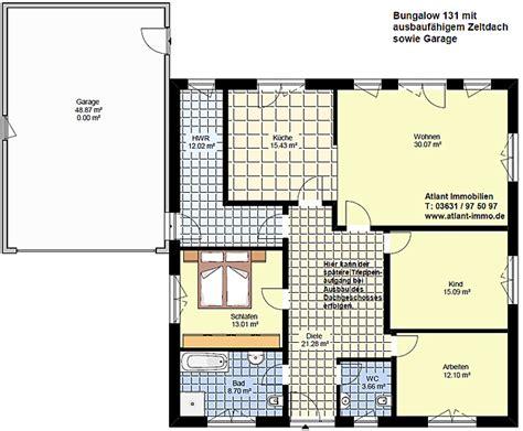 grundriss bungalow mit integrierter garage bungalow 131 zeltdach garage einfamilienhaus neubau