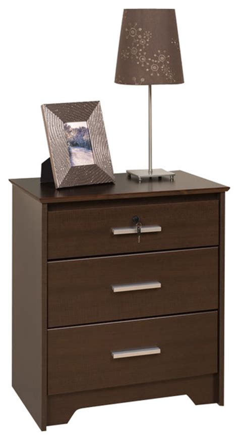 Nightstands 12 Inches Wide Prepac Coal Harbor Espresso 24 Inch 3 Drawer And Wide