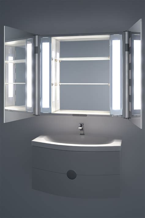 excel led illuminated bathroom mirror cabinet with sensor