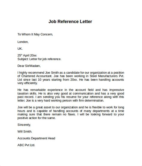 Format Of Reference Letter For The Reference Letter 7 Free Sles Exles Formats
