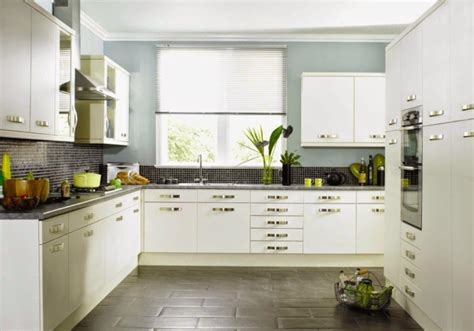 soft blue wall color ideas for modern kitchen with white cabinet color lestnic