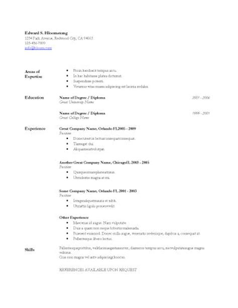 Microsoft Word Basic Resume Template by Resume Template Microsoft Word Basic Resume Templates