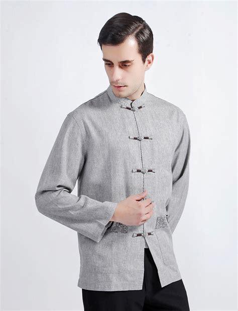 Jaket Grey Style Longsleeve free shipping big discount light grey style linen s mandarin collar sleeve kung