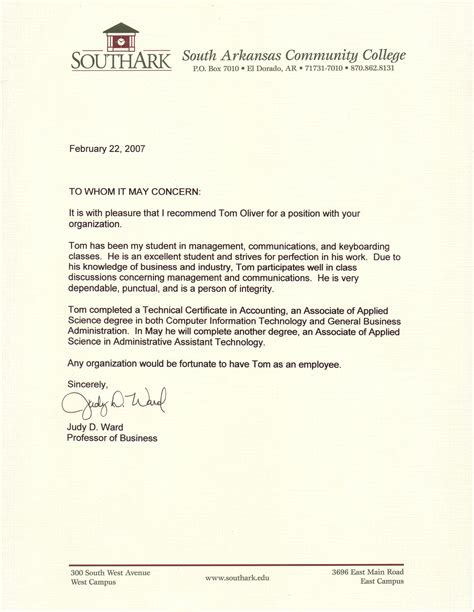 Letter Of Recommendation And References professional references tom oliver cv