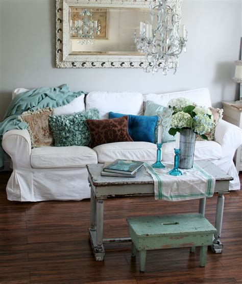 shabby chic ikea ektorp sofa in chalk white linen with dark wood floors aqua and spring like