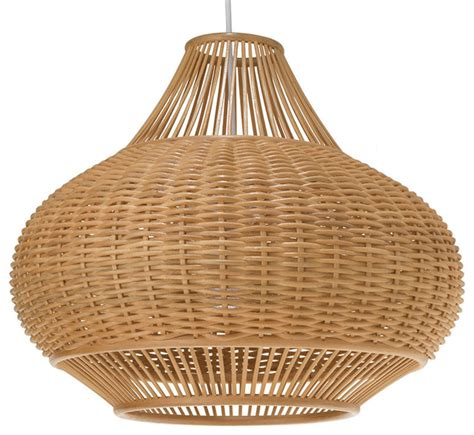 Wicker Pendant Lights Wicker Pear Pendant L Tropical Pendant Lighting Other Metro By Kouboo