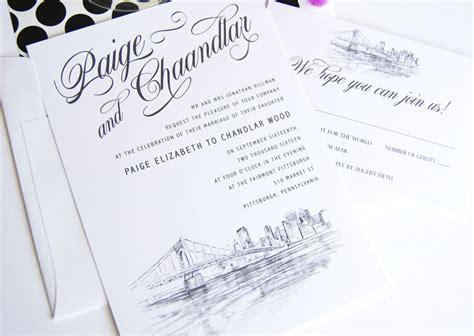 Wedding Invitations Pittsburgh by Pittsburgh Skyline Wedding Invitations