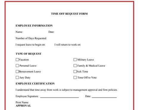 time request form template 10 time request form templates excel templates