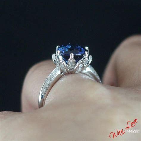 Green Saphire 14 2ct lotus flower blue sapphire engagement ring