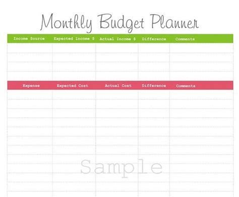 monthly budget planner pdf printable by