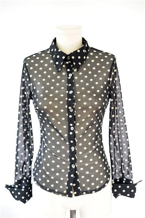 Blouse Polka sheer polka dot blouse small stretchy blouse black