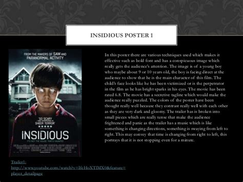 insidious film trailer analysis insidious analysis of posters and trailers