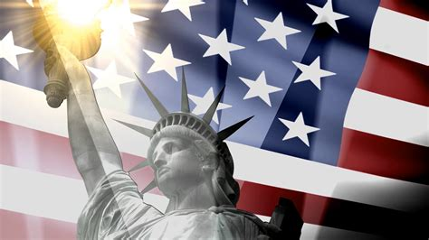 Concept Patriotic Animation Statue Liberty With