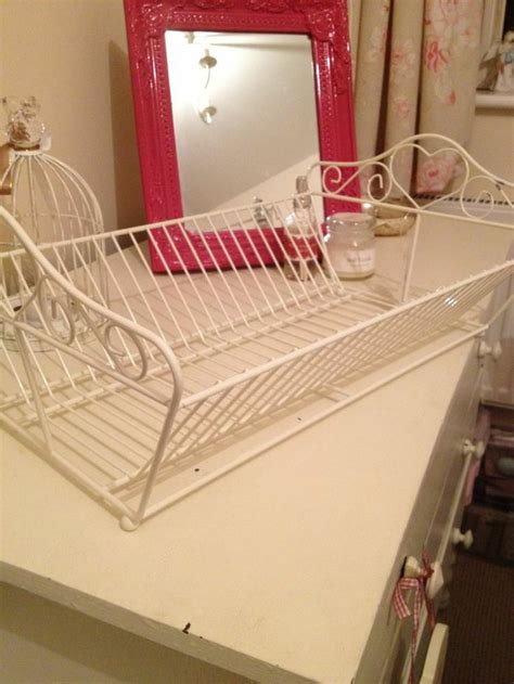 shabby chic heart plates drainer kitchen dish rack holder vintage cou