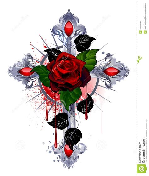 cross with a red rose stock image image 30829211