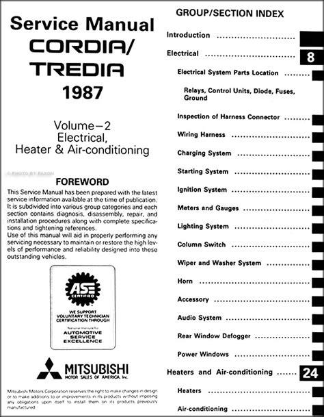 car owners manuals free downloads 1987 mitsubishi tredia engine control 1987 mitsubishi cordia tredia repair shop manual set original