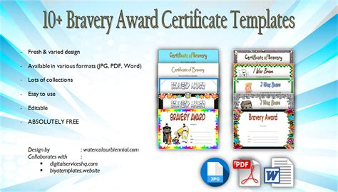 bravery certificate template bravery award certificate templates 10 designs