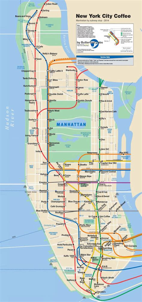 subway map new york city manhattan caf 233 map sorts manhattan s best coffee by subway stop