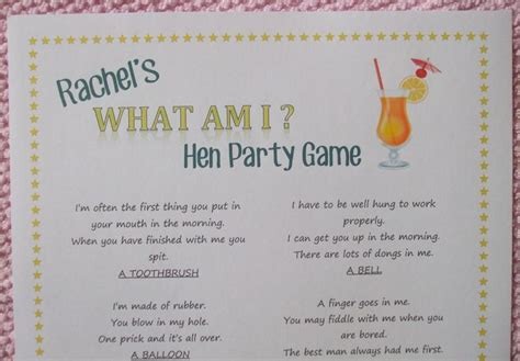 hen party game ideas sensible hen moneysavingexpert personalised hen night party game what am i fun