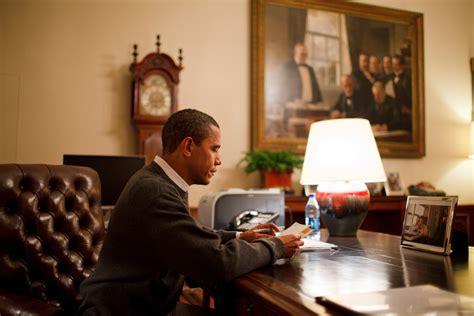 obama at desk president barack obama sits at his desk in the treaty room
