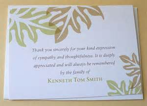 sympathy thank you cards brown and green leaves personalized se