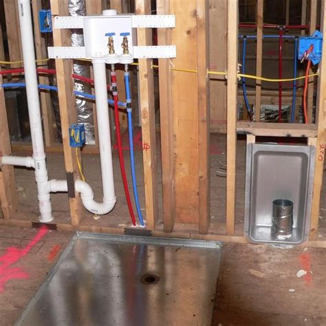 laundry plumbing layout wall recessed laundry feed drain plumbing lines and