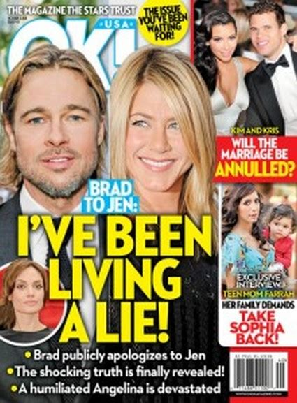 Brad And Tell Ok That They Are Ready For A New Baby by Lindsay Lohan Ok Magazine Brad Pitt Tells
