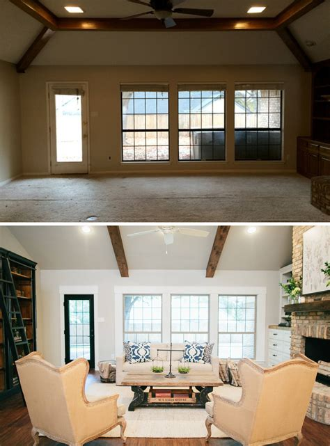 living room before after homes chip joanna gaines on fixer magnolia homes and chip and joanna gaines