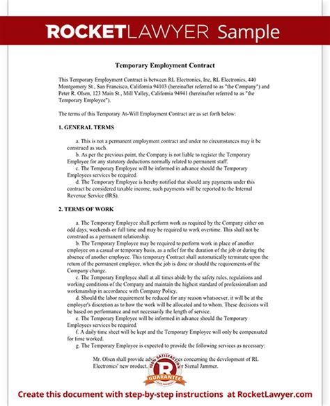Employment Agreement Letter Exles Temporary Employment Contract Agreement Template With Sle