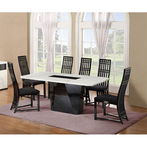 Nouvaro Marble Dining Table With 6 Chairs In Black And Marble Dining Table And 6 Chairs